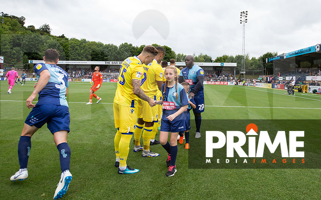 Pre match handshakes during the Sky Bet League 1 match between Wycombe Wanderers and Bristol Rovers at Adams Park, High Wycombe, England on 18 August 2018. Photo by Andy Rowland.