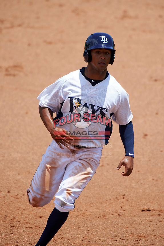 GCL Rays designated hitter Garrett Whitley (20) running the bases during the second game of a doubleheader against the GCL Red Sox on August 4, 2015 at Charlotte Sports Park in Port Charlotte, Florida.  GCL Red Sox defeated the GCL Rays 2-1.  (Mike Janes/Four Seam Images)