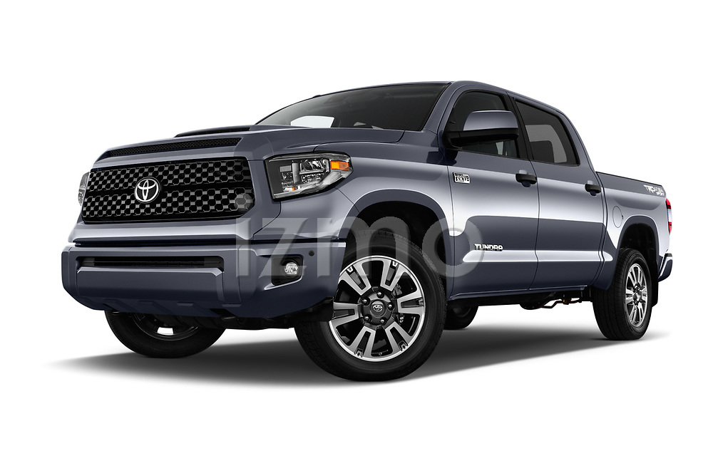 Stock pictures of low aggressive front three quarter view of a 2018 Toyota Tundra TRD Sport Crew Cab 4 Door Pick Up