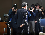 February 14, 2017, Tokyo, Japan - Japan's troubled electronics giant Toshiba president Satoshi Tsunakawa leaves a press conference after he announced the company's third quarter financial result at the Toshiba headquarters in Tokyo on Tuesday, February 14, 2017. Toshiba chairman Shigenori Shiga will step down to take responsibility for the huge loss of a 712.5 billion yen (6.3 billion US dollars) on its nuclear business in the United States.   (Photo by Yoshio Tsunoda/AFLO) LwX -ytd