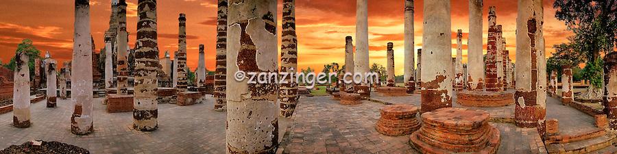 Thailand Pillars Ruins Golden Sunset CGI Backgrounds, ,Beautiful Background