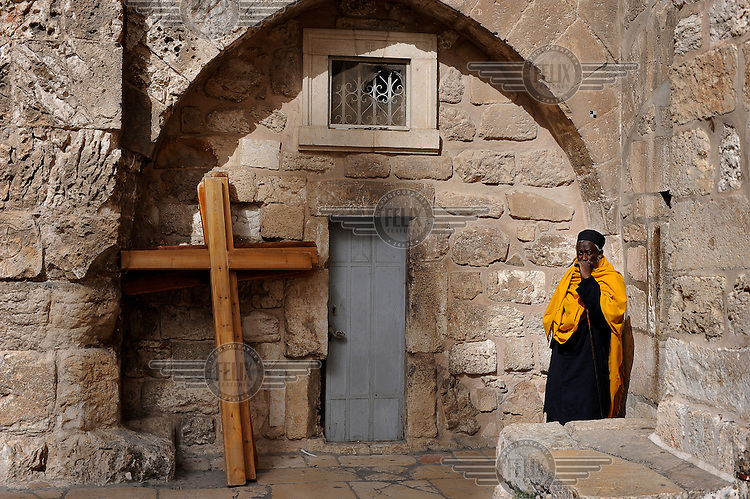 An Ethiopian cleric at the Church of the Holy Sepulchre, Jerusalem.