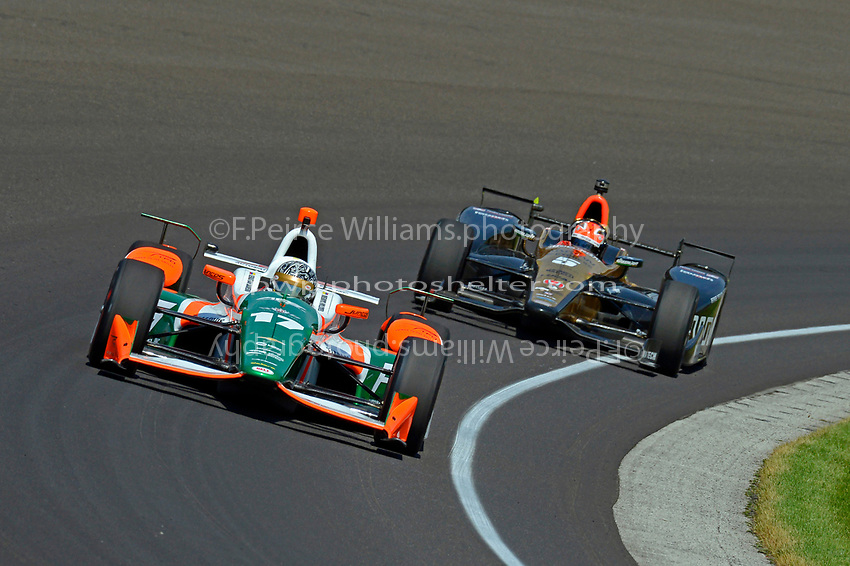 Verizon IndyCar Series<br /> Indianapolis 500 Carb Day<br /> Indianapolis Motor Speedway, Indianapolis, IN USA<br /> Friday 26 May 2017<br /> Sebastian Saavedra, Juncos Racing Chevrolet, James Hinchcliffe, Schmidt Peterson Motorsports Honda<br /> World Copyright: F. Peirce Williams