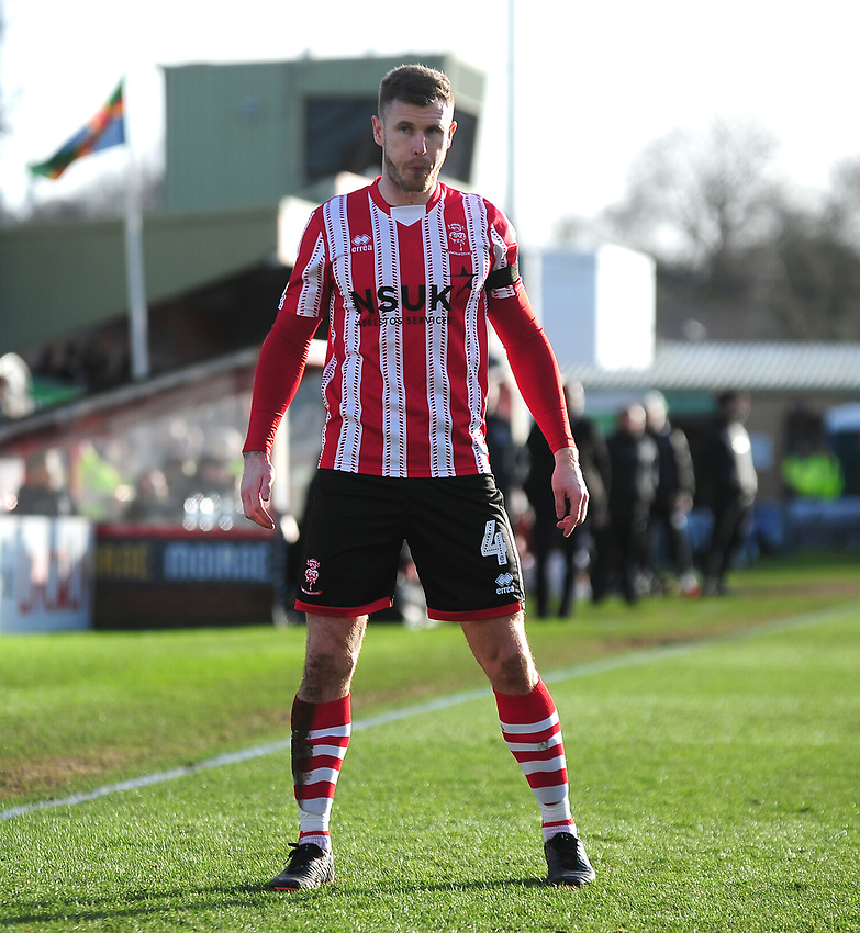 Lincoln City's Michael O'Connor<br /> <br /> Photographer Andrew Vaughan/CameraSport<br /> <br /> The EFL Sky Bet League Two - Lincoln City v Northampton Town - Saturday 9th February 2019 - Sincil Bank - Lincoln<br /> <br /> World Copyright © 2019 CameraSport. All rights reserved. 43 Linden Ave. Countesthorpe. Leicester. England. LE8 5PG - Tel: +44 (0) 116 277 4147 - admin@camerasport.com - www.camerasport.com