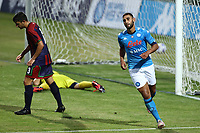 Faouzi Ghoulam of SSC Napoli scores a goal<br /> during the friendly football match between SSC Napoli and L Aquila 1927 at stadio Patini in Castel di Sangro, Italy, August 28, 2020. <br /> Photo Cesare Purini / Insidefoto