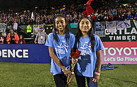 Portland, Oregon - Saturday July 9, 2016: The Girls Inc Girls of the Game during a regular season National Women's Soccer League (NWSL) match at Providence Park.