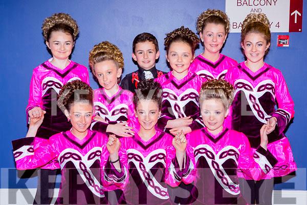 Kate Lawlor, Islínn Ní Chróinín, ailbhe Gallagher. Back row: Erin Holland, Roisin O'Sullivan, Scott O'Meara, Laura O'Carroll, Carrie Hickey, Grainne Spillane Killarney at the Munster finals in the INEC on Saturday