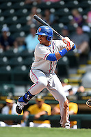 St. Lucie Mets third baseman Jhoan Urena (13) at bat during a game against the Bradenton Marauders on April 12, 2015 at McKechnie Field in Bradenton, Florida.  Bradenton defeated St. Lucie 7-5.  (Mike Janes/Four Seam Images)