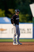 Charlotte Knights Zack Collins (8) leads off during an International League game against the Syracuse Mets on June 11, 2019 at NBT Bank Stadium in Syracuse, New York.  Syracuse defeated Charlotte 15-8.  (Mike Janes/Four Seam Images)