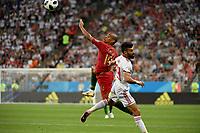 SARANSK - RUSIA, 25-06-2018: Ramin REZAEIAN (Der) jugador de RI de Irán disputa el balón con Joao MARIO  (Izq) jugador de Portugal durante partido de la primera fase, Grupo B, por la Copa Mundial de la FIFA Rusia 2018 jugado en el estadio Mordovia Arena en Saransk, Rusia. / Ramin REZAEIAN (R) player of IR Iran fights the ball with Joao MARIO (L) player of Portugal during match of the first phase, Group B, for the FIFA World Cup Russia 2018 played at Mordovia Arena stadium in Saransk, Russia. Photo: VizzorImage / Julian Medina / Cont