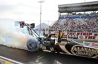 Apr. 5, 2013; Las Vegas, NV, USA: NHRA top fuel dragster driver Khalid Albalooshi during qualifying for the Summitracing.com Nationals at the Strip at Las Vegas Motor Speedway. Mandatory Credit: Mark J. Rebilas-