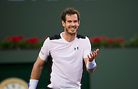 Andy Murray of Great Britain in action at the BNP Paribas Open at the Indian Wells Tennis Garden, Indian Wells, California, USA.