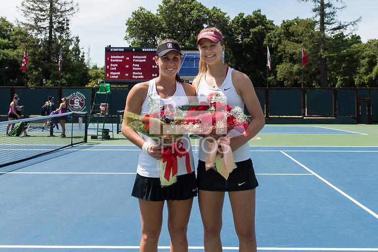 Stanford, CA, April 15, 2017<br /> Stanford Women's Tennis vs. University of Washington, for Senior Day at Taube Family Stadium. Stanford won 6-1.