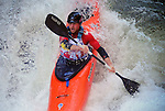 November 5, 2016 - Hendersonville, North Carolina, U.S. -  Kayaker, Bren Orton, drops into the Scream Machine Rapids during the 21st annual Green Race.The Green River Narrows provides one of the most intense and extreme whitewater venues in the world and is home to many of the USA's most talented paddlers.  Green River Narrows, Hendersonville, North Carolina.