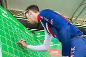 6th September 2017, Mansfield, England; OVO Energy Tour of Britain Cycling; Stage 4, Mansfield to Newark-On-Trent;  Jacob Hennessy of Great Britain-GBR Team completes registration sign-in at Mansfield