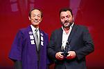 "Denis Menochet, November 05, 2019 - Denis Menochet speaks after winning ""Audience Award"" for the film ""Only the Animals"" during the 32nd Tokyo International Film Festival award ceremony in Tokyo, Japan on November 05, 2019. (Photo by 2019 TIFF/AFLO)"