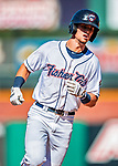 18 July 2018: New Hampshire Fisher Cats infielder Cavan Biggio rounds the bases after hitting a game-winning 2-run homer in the bottom of the 6th inning against the Trenton Thunder at Northeast Delta Dental Stadium in Manchester, NH. The Fisher Cats defeated the Thunder 3-2 in a 7-inning, second game of the day. Mandatory Credit: Ed Wolfstein Photo *** RAW (NEF) Image File Available ***