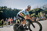 Victor Campenaerts (BEL/Lotto-Soudal) on his way to a bronze medal<br /> <br /> MEN ELITE INDIVIDUAL TIME TRIAL<br /> Hall-Wattens to Innsbruck: 52.5 km<br /> <br /> UCI 2018 Road World Championships<br /> Innsbruck - Tirol / Austria