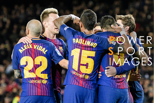 Lionel Messi of FC Barcelona (H) celebrates his goal with teammates during the La Liga 2017-18 match between FC Barcelona and Deportivo La Coruna at Camp Nou Stadium on 17 December 2017 in Barcelona, Spain. Photo by Vicens Gimenez / Power Sport Images