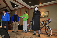 Graeme McDowell makes an appearance as the mystery guest (V.Mac) at the BMW Halloween Media Party held in the Jin Mao Tower after Friday's Round 2 of the 2014 BMW Masters held at Lake Malaren, Shanghai, China 31st October 2014.<br /> Picture: Eoin Clarke www.golffile.ie