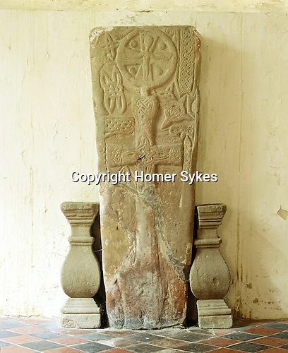 Celtic Grave Slab, The Church of Tysilio and St Mary, Meifod, Powys, Wales. UK. Celtic Britain published by Orion
