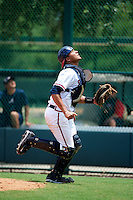 GCL Braves Carlos Sanchez #7 during a Gulf Coast League game against the GCL Pirates at Wide World of Sports on July 16, 2012 in Orlando, Florida.  GCL Pirates defeated the GCL Braves  6-2.  (Mike Janes/Four Seam Images)