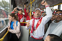 YEKATERINBURG, RUSSIA - June 21, 2018:  Peru fans sing on a shuttle to the stadium before their game against France in their 2018 FIFA World Cup group stage at Yekaterinburg Arena Stadium.