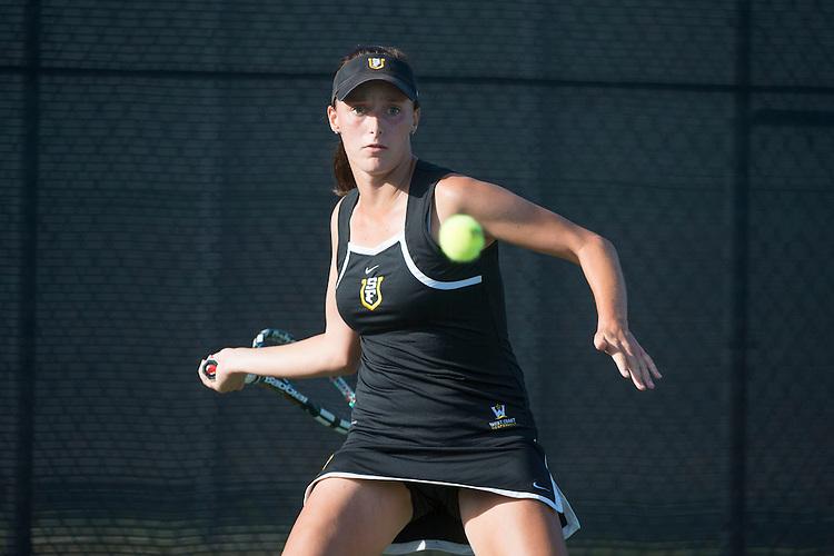 April 23, 2014; San Diego, CA, USA; San Francisco Dons player Brooke Irish during the WCC Tennis Championships at Barnes Tennis Center.