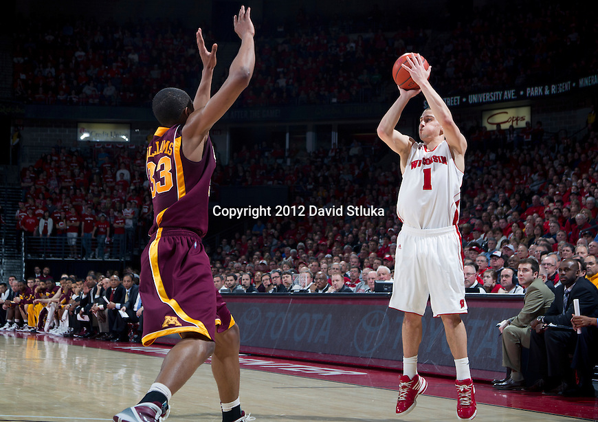 Wisconsin Badgers guard Ben Brust (1) shoots and makes a 3-pointer during a Big Ten Conference NCAA college basketball game against the Minnesota Golden Gophers on Tuesday, February 28, 2012 in Madison, Wisconsin. The Badgers won 52-45. (Photo by David Stluka)