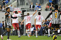Joel Lindpere (20) of the New York Red Bulls celebrates scoring the first goal of the game in the 11th minute during the first half of a friendly between Santos FC and the New York Red Bulls at Red Bull Arena in Harrison, NJ, on March 20, 2010. The Red Bulls defeated Santos FC 3-1.