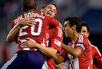 Chivas USA forward Justin Braun celebrates with teammate Giancarlo Maldonado after scoring his goal. CD Chivas USA beat DC United 1-0 at Home Depot Center stadium in Carson, California on Sunday August 29, 2010.