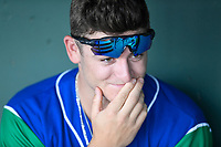 Outfielder Kyle Isbel (6) of the Lexington Legends in the dugout before a game against the Greenville Drive on Saturday, September 1, 2018, at Fluor Field at the West End in Greenville, South Carolina. Greenville won, 9-6. (Tom Priddy/Four Seam Images)