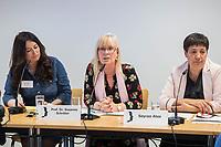 Pressekonferenz der Menschenrechtsorganisation &quot;Terre des Femmes&quot; am Donnerstag den 23. August 2018 in Berlin, anlaesslich ihrer Petition &quot;Den Kopf frei haben!&quot;, die sich fuer ein Verbot des sogenannten &quot;Kinderkopftuch&quot; fuer Maedchen unter 18 Jahren einsetzt. Fuer Terre des Femmes ist das Kinderkopftuch der Missbrauch von Kindern fuer eine Religion und eine Kinderrechtsverletzung.<br /> Ziel der Unterschriftensammlung fuer die Petition sind 100.000 Unterschriften.<br /> Im Bild vlnr.: Nina Coenen, Terre des Femmes; Prof. Dr. Susanne Schroeter, Direktorin des Frankfurter Forschungszentrum Globaler Islam; Seyran Ates, Rechtsanwaeltin und Imamin an der liberalen Ibn-Rushd-Goethe-Moschee in Berlin.<br /> 23.8.2018, Berlin<br /> Copyright: Christian-Ditsch.de<br /> [Inhaltsveraendernde Manipulation des Fotos nur nach ausdruecklicher Genehmigung des Fotografen. Vereinbarungen ueber Abtretung von Persoenlichkeitsrechten/Model Release der abgebildeten Person/Personen liegen nicht vor. NO MODEL RELEASE! Nur fuer Redaktionelle Zwecke. Don't publish without copyright Christian-Ditsch.de, Veroeffentlichung nur mit Fotografennennung, sowie gegen Honorar, MwSt. und Beleg. Konto: I N G - D i B a, IBAN DE58500105175400192269, BIC INGDDEFFXXX, Kontakt: post@christian-ditsch.de<br /> Bei der Bearbeitung der Dateiinformationen darf die Urheberkennzeichnung in den EXIF- und  IPTC-Daten nicht entfernt werden, diese sind in digitalen Medien nach &sect;95c UrhG rechtlich geschuetzt. Der Urhebervermerk wird gemaess &sect;13 UrhG verlangt.]