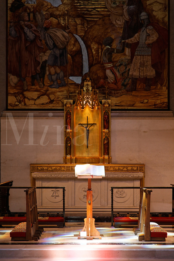 Bibe on display in Chapel of the Nativity, Grace Cathedral, San Francisco, California, USA, North America