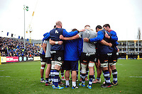 The Bath Rugby forwards huddle together during the pre-match warm-up. Aviva Premiership match, between Bath Rugby and Saracens on December 3, 2016 at the Recreation Ground in Bath, England. Photo by: Patrick Khachfe / Onside Images