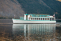 In 1929, Captain Swanson built the tour boat DeSmet for the Great Northern Railroad. She was constructed to carry passengers onLake McDonald and this lake has remained her home ever since. The DeSmet was named after Father Pierre DeSmet, a prominent Jesuit missionary in the area. This vessel is a 57-foot carvel planked launch with cedar on an oak frame authorized by the U.S. Coast Guard to carry 80 passengers with current Certificate of Inspection.