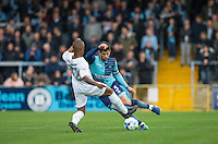 Joe Jacobson of Wycombe Wanderers takes on Mauro Vilhete of Barnet during the Sky Bet League 2 match between Wycombe Wanderers and Barnet at Adams Park, High Wycombe, England on 22 October 2016. Photo by Andy Rowland.