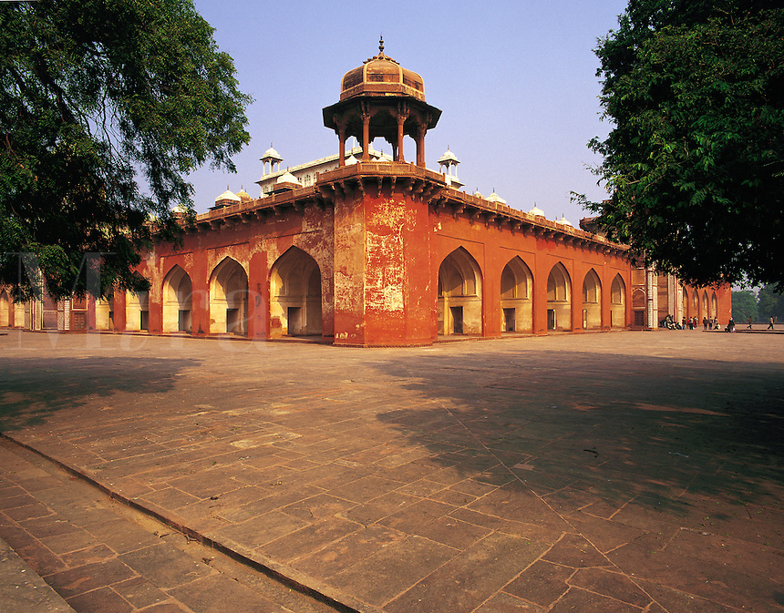 The tomb and mausoleum of the emperor Akhbar at Sikandra, near Agra, Uttar Pradesh, India. The building was begun by Akhbar himself but completed by the emperor Jehangir