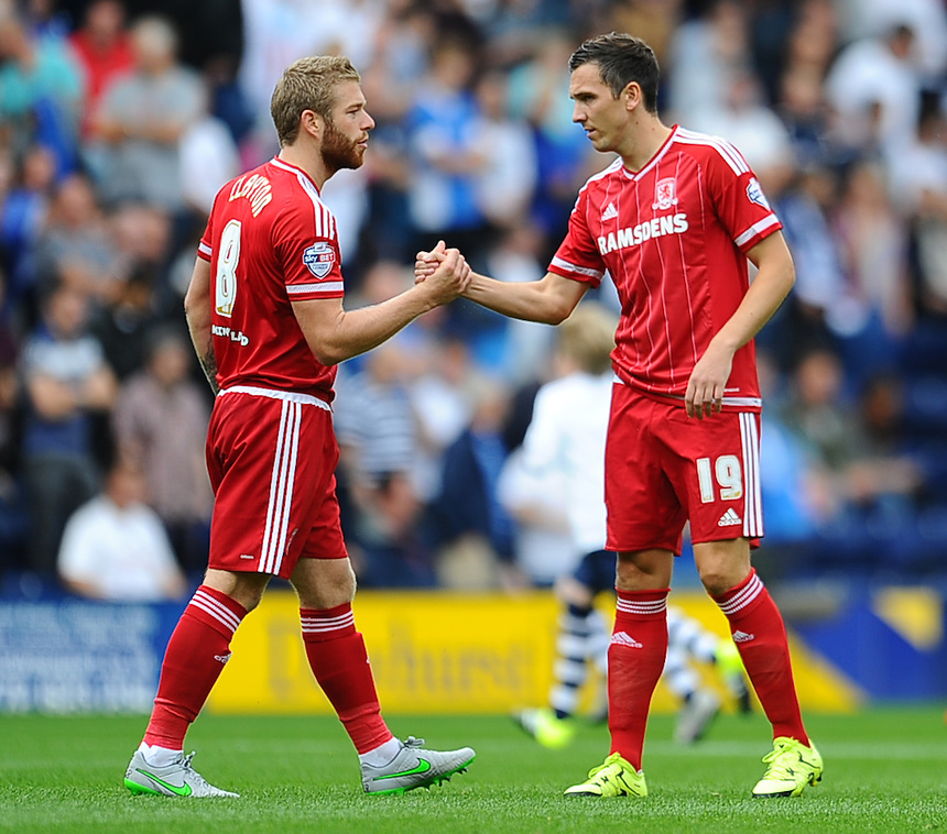 Middlesbrough's Stewart Downing and Adam Clayton shake hands before kick off<br /> <br /> Photographer Craig Thomas/CameraSport<br /> <br /> Football - The Football League Sky Bet Championship - Preston North End v Middlesbrough -  Sunday 9th August 2015 - Deepdale - Preston<br /> <br /> &copy; CameraSport - 43 Linden Ave. Countesthorpe. Leicester. England. LE8 5PG - Tel: +44 (0) 116 277 4147 - admin@camerasport.com - www.camerasport.com