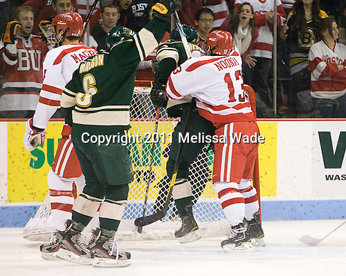 Colin Markinson (Vermont - 6), Blake Doerring (Vermont - 22), Garrett Noonan (BU - 13) - The  Boston University Terriers defeated the visiting University of Vermont Catamounts 4-3 on Friday, November 18, 2011, at Agganis Arena in Boston, Massachusetts.