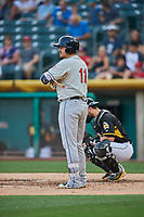 Allen Craig (11) of the El Paso Chihuahuas bats against the Salt Lake Bees at Smith's Ballpark on August 14, 2018 in Salt Lake City, Utah. El Paso defeated Salt Lake 6-3. (Stephen Smith/Four Seam Images)