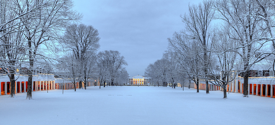 The University of Virginia lawn in snow on central grounds.