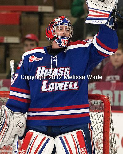 Connor Hellebuyck (UML - 37) - The visiting University of Massachusetts Lowell River Hawks defeated the Harvard University Crimson 5-0 on Monday, December 10, 2012, at Bright Hockey Center in Cambridge, Massachusetts.