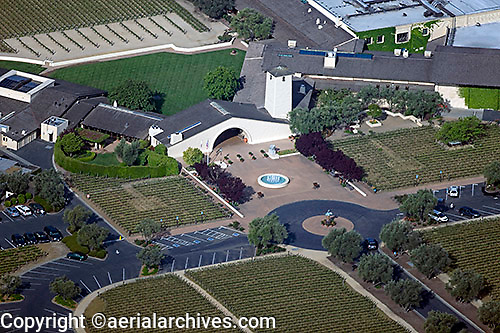 aerial above Mondavi Winery, Oakville, California Napa Valley