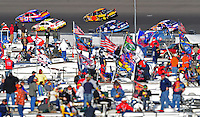 Mar 2, 2008; Las Vegas, NV, USA; NASCAR Sprint Cup Series drivers Matt Kenseth (17) and Greg Biffle (16) lead a pack of cars during the UAW Dodge 400 at Las Vegas Motor Speedway. Mandatory Credit: Mark J. Rebilas-US PRESSWIRE