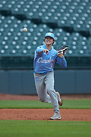 Kyle Datres (3) of the North Carolina Tar Heels makes a throw to first base against the Boston College Eagles in Game Five of the 2017 ACC Baseball Championship at Louisville Slugger Field on May 25, 2017 in Louisville, Kentucky. The Tar Heels defeated the Eagles 10-0 in a game called after 7 innings by the Mercy Rule. (Brian Westerholt/Four Seam Images)