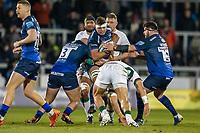 6th March 2020; AJ Bell Stadium, Salford, Lancashire, England; Premiership Rugby, Sale Sharks versus London Irish; Jono Ross of Sale Sharks is tackled