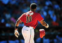 Apr. 27, 2011; Phoenix, AZ, USA; Arizona Diamondbacks outfielder Justin Upton throws his helmet after striking out against the Philadelphia Phillies at Chase Field. Mandatory Credit: Mark J. Rebilas-