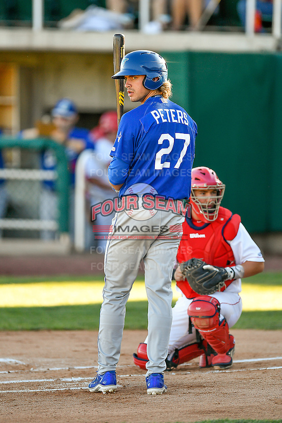 DJ Peters (27) of the Ogden Raptors at bat against the Orem Owlz in Pioneer League action at Home of the Owlz on June 25, 2016 in Orem, Utah. Orem defeated Ogden 4-1.  (Stephen Smith/Four Seam Images)