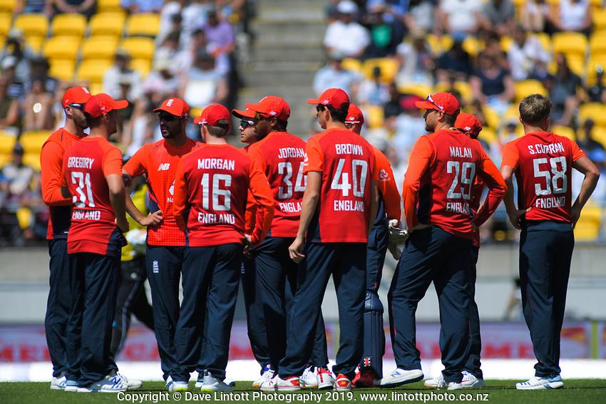 The England team. Twenty20 International cricket match between NZ Black Caps and England at Westpac Stadium in Wellington, New Zealand on Sunday, 3 November 2019. Photo: Dave Lintott / lintottphoto.co.nz